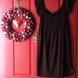 Muse smocked off the shoulder burgundy dress
